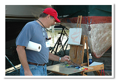 Gene Costanza painting in Easton, Maryland